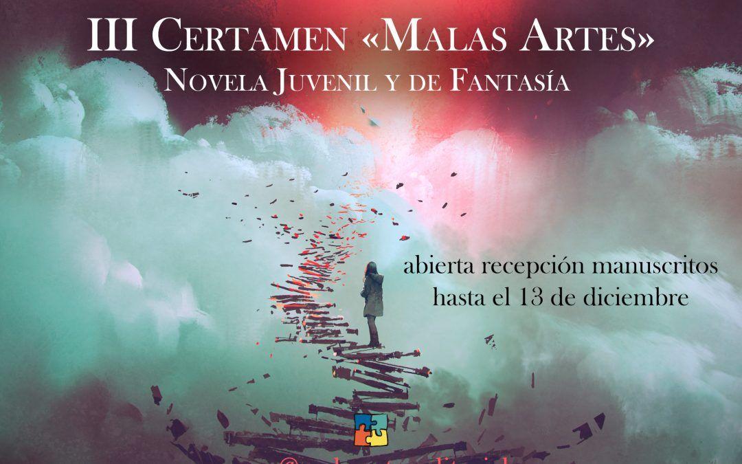 III CERTAMEN «MALAS ARTES» DE NOVELA JUVENIL Y DE FANTASÍA